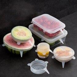 6 sztuk opakowania na żywność wielokrotnego użytku silikonowe jedzenie świeże utrzymanie uszczelnione pokrywy silikonowe uszczelnienie próżniowe Stretch pokrywkami Saran okłady organizacji