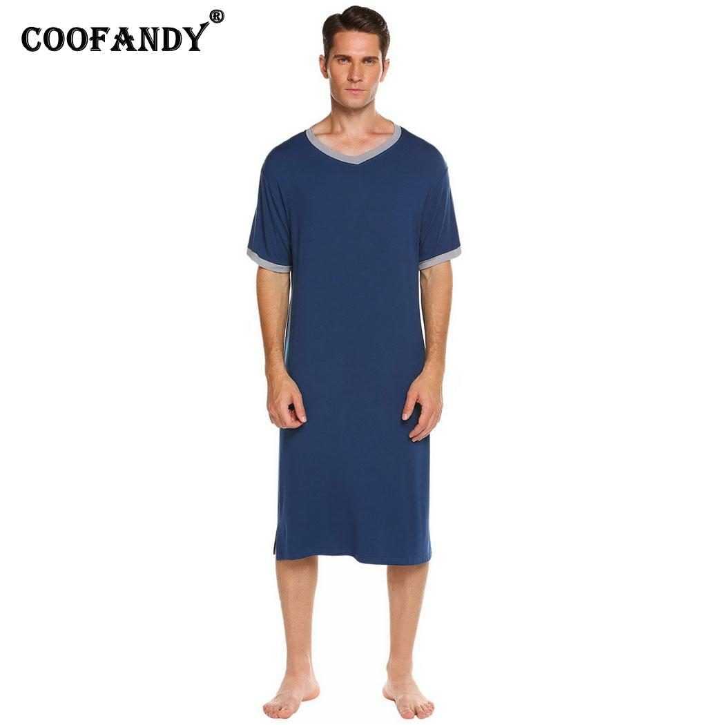 V-Neck Men Short Sleeve Contrast Color Sleepshirt Nightshirt Lounge Sleepwear