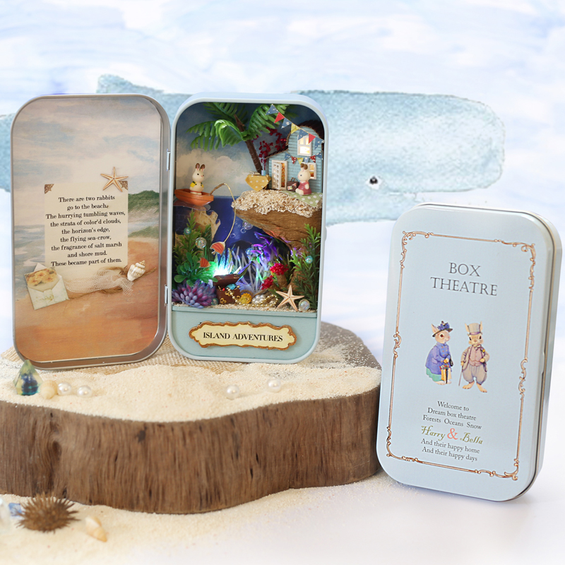 Elegant DIY Doll House Box Theatre Toy DIY Miniature House Scenes 3D Wooden Dollhouse Furniture Island