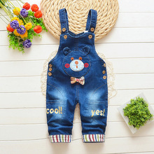 DIIMUU Newborn Toddler Baby Girls Overalls Clothing Bow-knot Printing Jeans Pants Denim Cotton Casual Trousers  Suspender Pants
