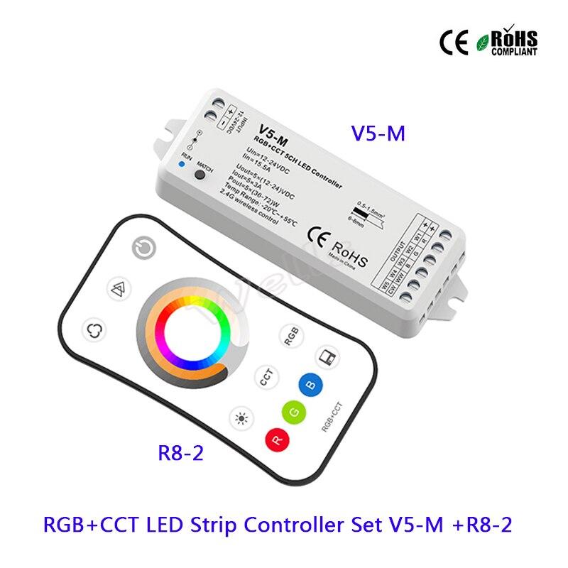 V5-M 5CH RGB + CCT LEVOU Controlador DC12-24V 15A led Receptor; R8-2 RGB + CCT 2.4G remoto LEVOU Controlador tira para tira conduzida luz