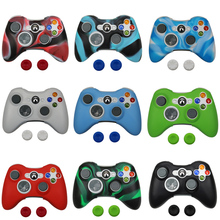 Silicone Protective Skin Case Cover for Microsoft Xbox 360 Gamepad Wireless / Wired Controller + Thumb Sticks Caps Grips commonbyte for xbox 360 controller silicone gel case skin 2pc unlock opening tools t8