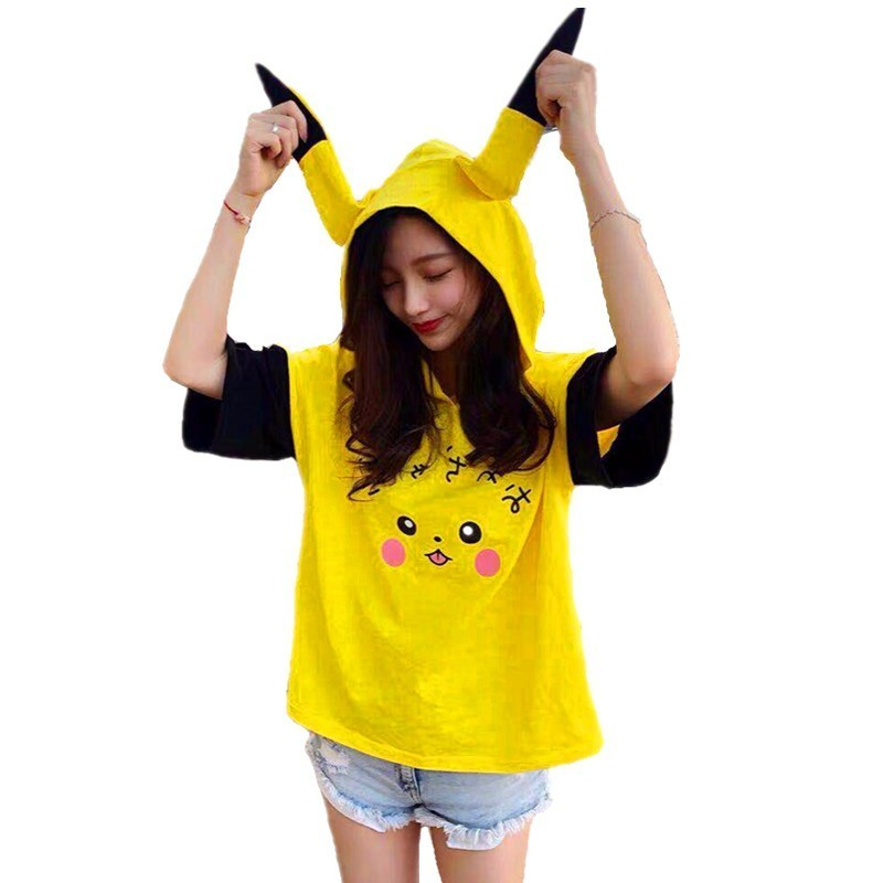 summer-women-harajuku-kawaii-font-b-pokemon-b-font-pikachu-printed-t-shirts-short-sleeve-hooded-long-ears-tshirt-cotton-school-girls-top-tee