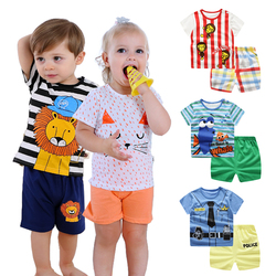 2018 New Arrival Morningtwo Casual Boys Short Animal Prined O-neck Regular Casual Outfit For Baby Boys And Girls