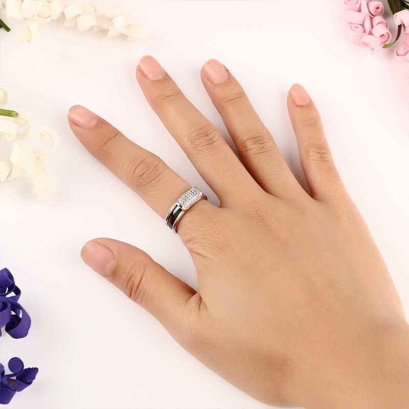 2018 neue 2 teile/satz Frauen Ringe Schwarz Weiß 3mm Keramik Ring Und Silber Edelstahl Ring Mit Leuchtenden Kristall mode Schmuck