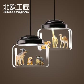 Nordic Children's Room Animal Tiger Model Glass Lampshade Pendant Light Dining Room Living Room Cafe Bar Bedroom