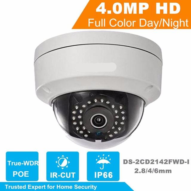 Versão inglês V5.3.3 Mini Câmera Dome IP Câmera de 4.0 megapixel Câmera IP 1080 P Suporte Onvif POE DS-2CD2142FWD-I 2.8/4mm lente