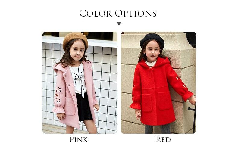 Outono inverno meninas casaco de lã rosa
