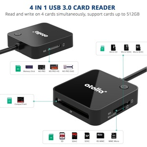 Image 4 - atolla SD Card Reader, USB 3.0 memory card reader adapter with 4 card slots for SD, SDHC, SDXC, TF, CF, MMC, MS and more
