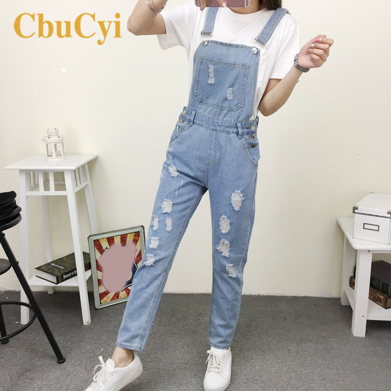 New Fashion Large Size Women Denim   Jumpsuits   Pants Hole Ripped Slim Fit Cotton Denim Overalls for Women Casual   Jumpsuit   Rompers
