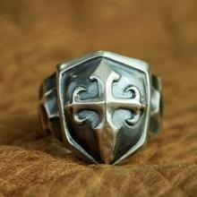 LINSION 925 Sterling Silver Handmade Shield Cross Ring Mens Biker Punk Ring TA92 US Size 7~15