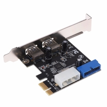 USB3.0 x2 PCI-E Expansion Card External 19pin PCIe Card 4pin IDE Power Connector JUN06 dropshipping