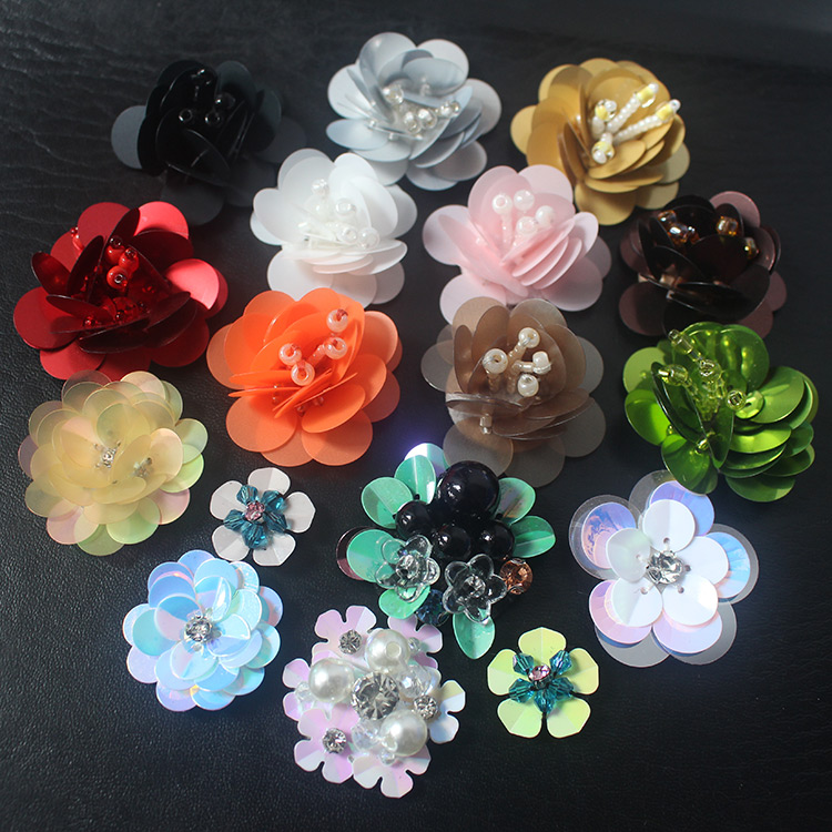10pcs/lot High Quality Beaded Flower Cloth Paste Can Be Used for Hats and Brooches DIY Clothing Accessories RS1490