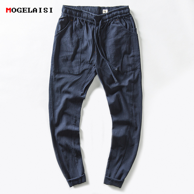 Linen Pants Men Ankle-Length Linen Cotton Solid Pants Mens Pencil Loose Linen Trousers For Man Mid Waist Straight Pant M-XXXL ankle length elastic mens pencil pants