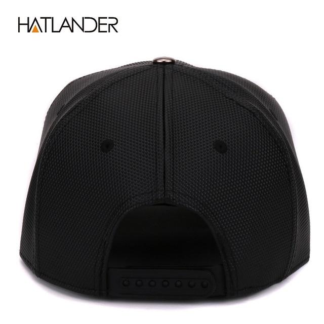 Hatlander Women Leather Baseball Caps Daft Rapper Rock Snapback Cap Flat Hats Jazz Golden Snake Punk Black Hip Hop Caps For Men