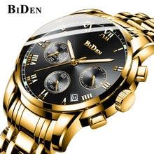 BIDEN Brand Chronograph Date Mens Watches Multifunctional watch Clock Stainless Steel Strap Business luxury Quartz Wristwatch