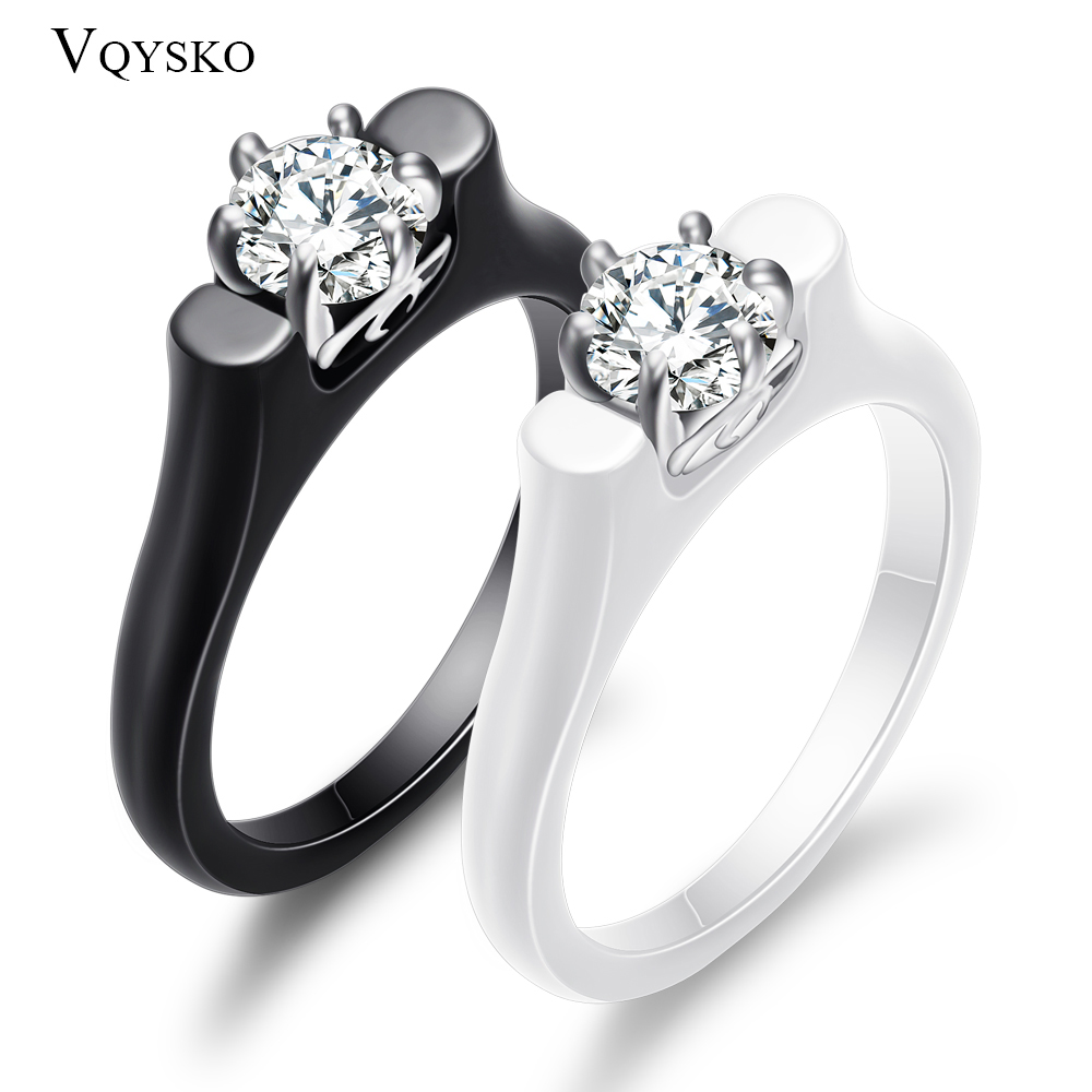 6MM Crystal Ceramic Ring Woman Cubic Zirconia Stone Black/White Color Women Jewelry Engagement Wedding Rings Gifts For Women