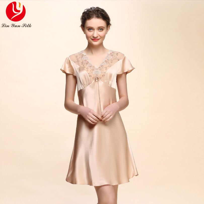 LIN YUN Real Silk Nightgown Woman Lace Sleepshirt Sexy Lady Short Sleeve Homewear Silk Casual Sleepwear Female Lounge Nightgown