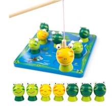 montessori educational wooden toys Infant fishing cute fishing frog game parent-child puzzle toy musical fishing rotating toy set fish game educational fishing toy child birthday gift baby educational toys