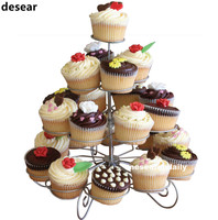 Newest 23 Cups European Style Multifunction Christmas Tree Shape Birthday Party Cupcake Stand Iron 4 Tier