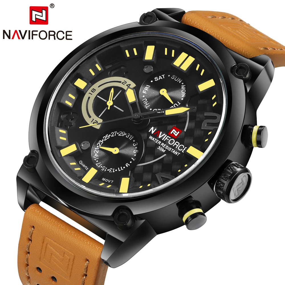 NAVIFORCE Luxury Brand Leather Analog Clock Men Quartz Fashion Casual Sports Watches Men Military Wrist Watch relogio masculino 2018 new fashion casual naviforce brand waterproof quartz watch men military leather sports watches man clock relogio masculino