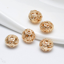 6PCS 10*7MM 24K Champagne Gold Color Brass Hollow Wheel Spacer Beads Bracelet High Quality Diy Jewelry Accessories
