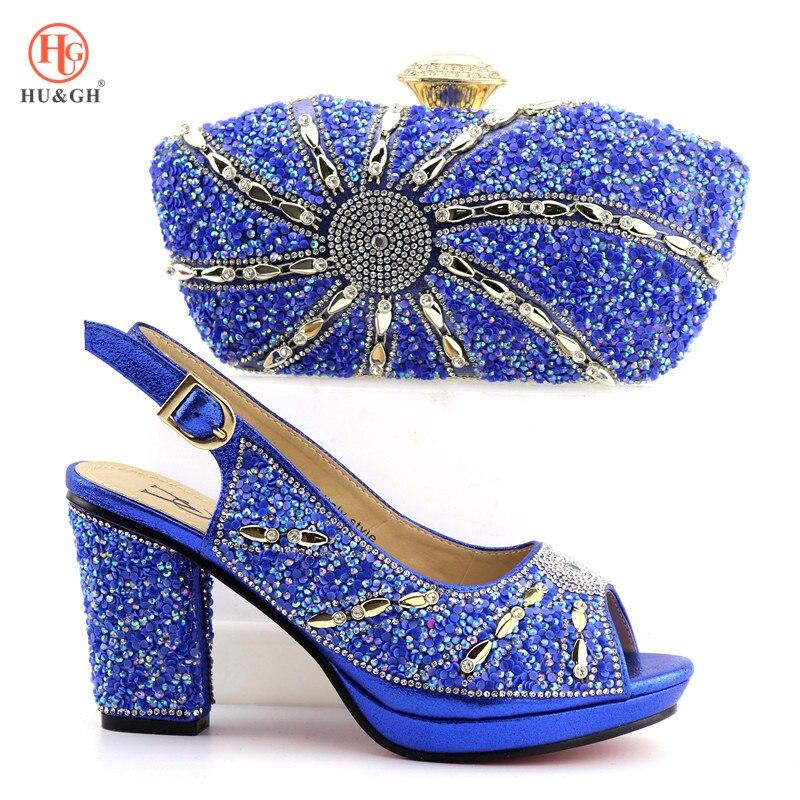 새로운 로얄 블루 이탈리아어 구두와 가방 여성을위한 파티에 설정 하이힐 샌들 아프리카 웨딩 신발과 가방 라인 석 세트-에서여성용 펌프부터 신발 의  그룹 1
