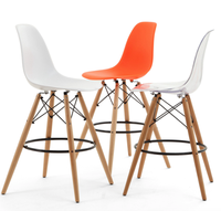 whole sales,Household table chairs solid wood chair creative cafe leisure plastic chairs,wooden leg