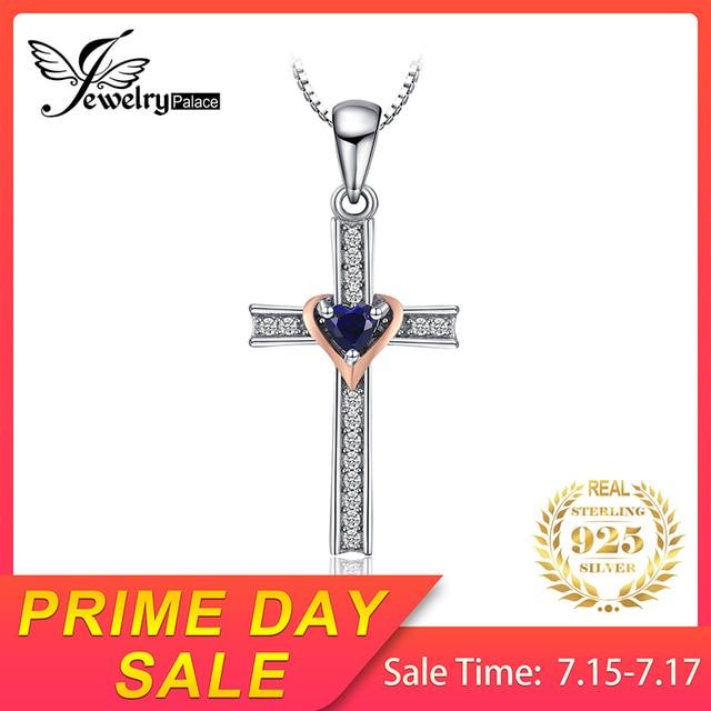 JewelryPalace Tạo Ra Màu Xanh Sapphire Mặt Dây Chéo Trái Tim Bạc 925 Mặt Dây Chuyền Vòng Cổ Mà Không Dây Chuyền Đá Quý