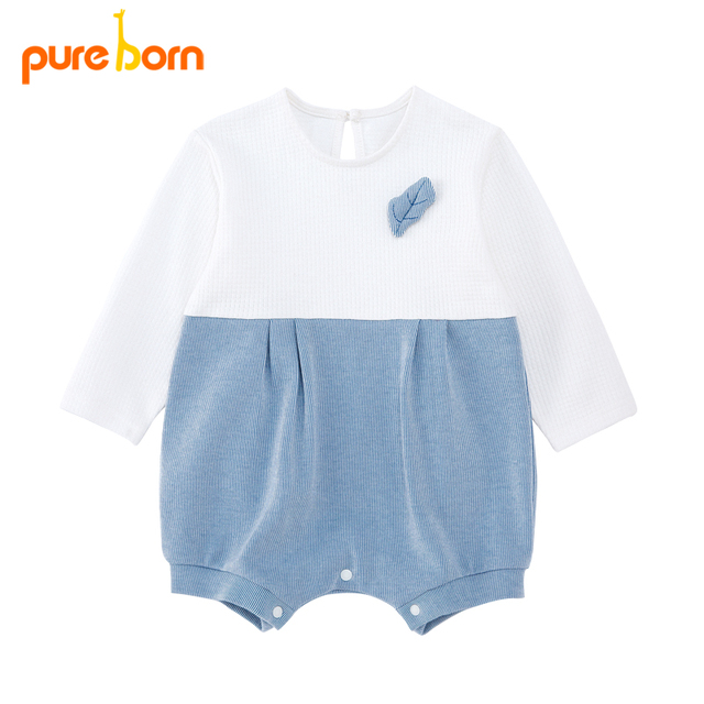 Pureborn Newborn Romper Royal Cotton Long Sleeved Baby Boy Girl Clothing Autumn Infant Overalls Toddler Jumpsuits Brand New