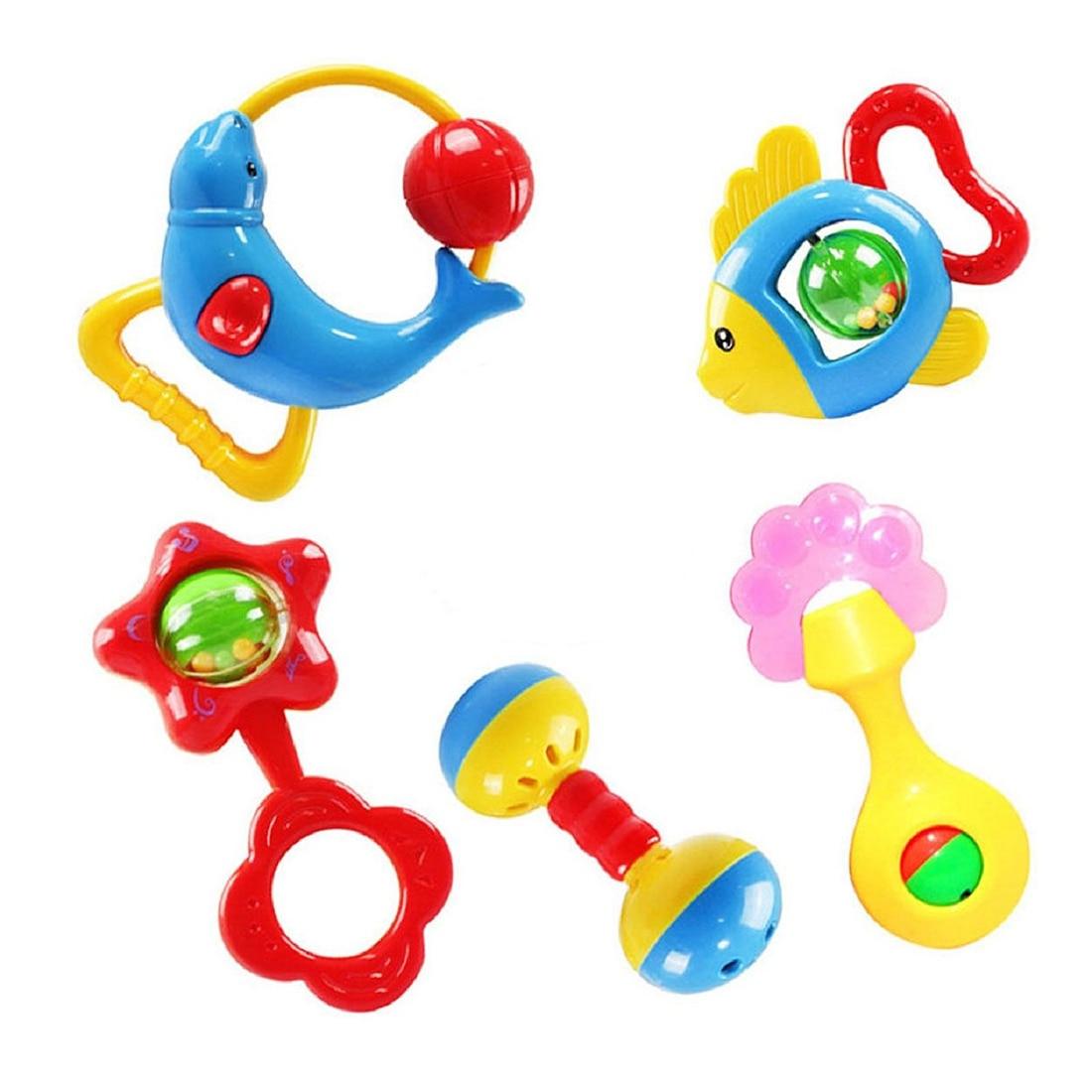 Christmas gift 5 pcs animal bells lovely rattle development toy for kids baby