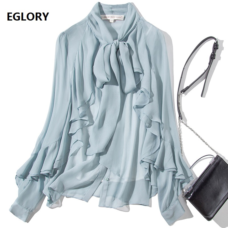 High Quality Blouse Shirt Autumn Spring Style Women Bow Collar Ruffle Shirt Office Lady Long Sleeve Blue White Black Shirt Blusa