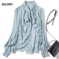High Quality Blouse Shirt Autumn Spring Style Women Bow Collar Ruffle Shirt Office Lady Long Sleeve Blue White Black Shirt Blusa