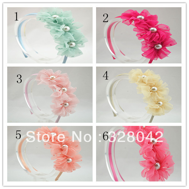 Trail order Triple chiffon flowers hairband fabric flower with pearl centre headband hair accessory 20pcs/lot