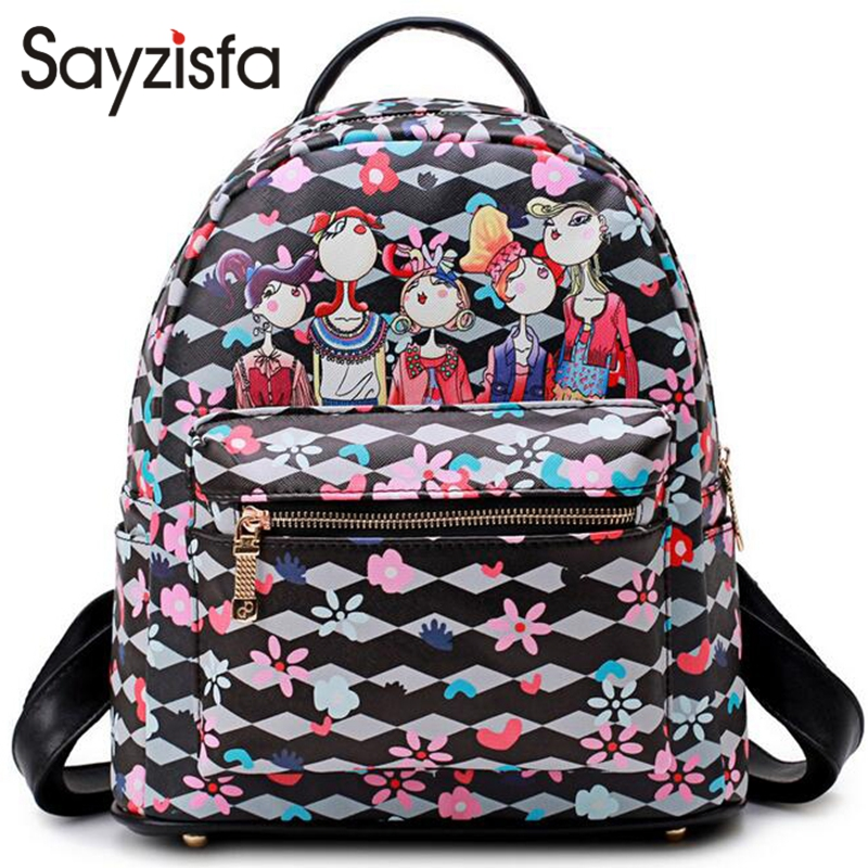 Sayzisfa Brand New Women Backpack Leather Ladies Shoulder Bags Girls school book bag black Backpacks Fashion