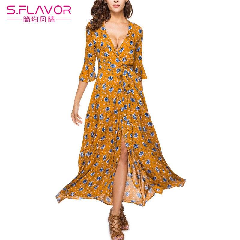 S.FLAVOR 2018 Women Fashion Floral Print V Neck Boho Long ...