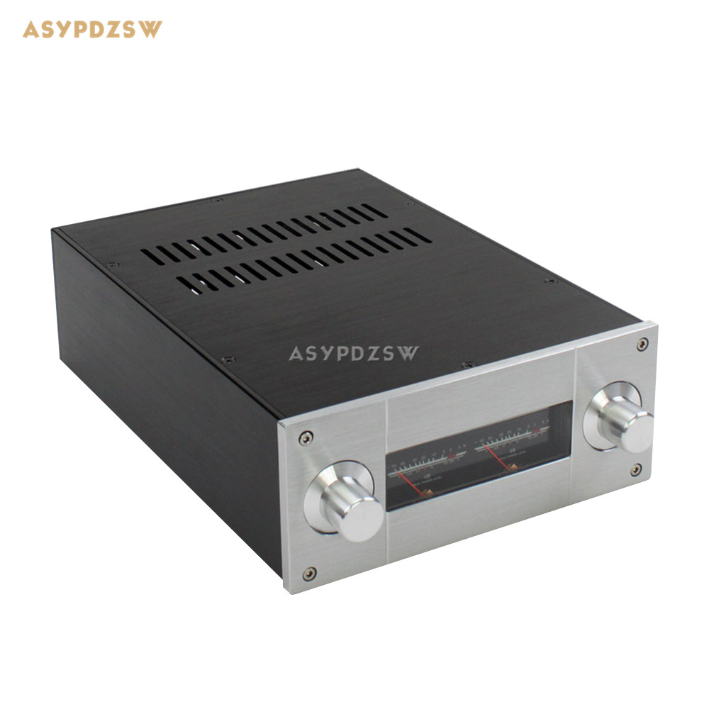 WA53 Full aluminum enclosure Power amplifier case Preamplifier chassis 308*222*92mm(Does not include Level meter) cnc4309 high end amplifier enclosure cnc full aluminum preamplifier chassis dac box psu case