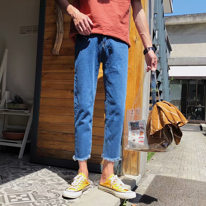Wholesale 2020 Spring Autumn Small Fresh Tassel Ankle Length Pants Men's Korean Simple Harem Teenagers Harajuku Style Boys Jeans