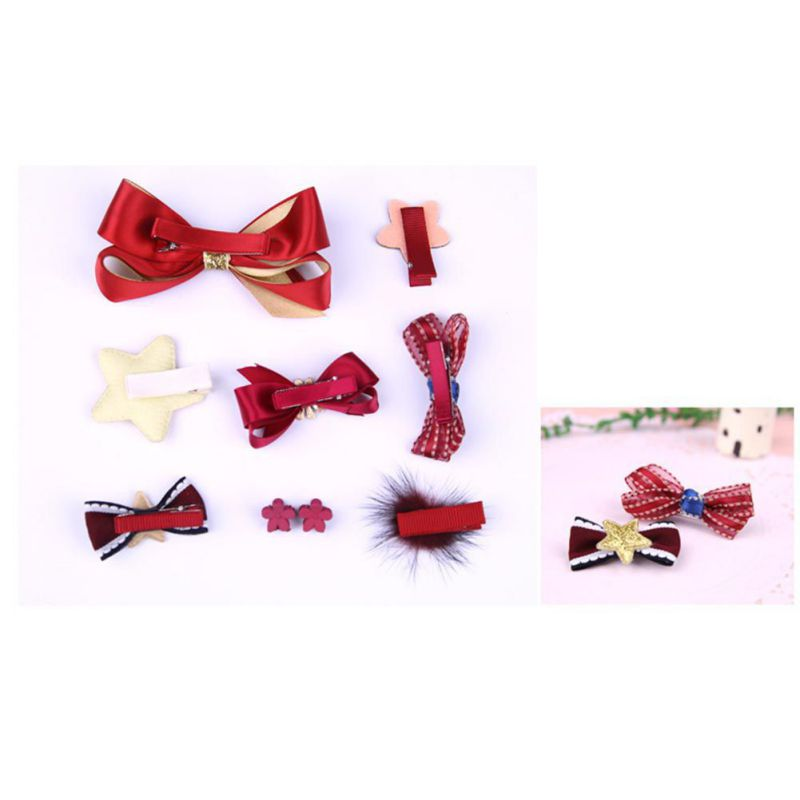 1 Set Baby Grils Hair Bow Band Barrettes Ribbons DIY Crafts Kit Girls Headwear Children Hair Accessories Gift With Box