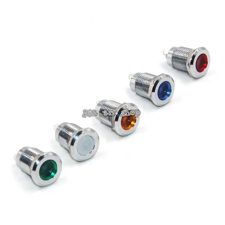 1pcs 12mm Waterproof Metal Flat Round Indicator LED Lamp Signal Pilot Light Colourful Red Yellow Blue Green White dc 12v pt1 16 thread red pilot lamps indicator signal light 5pcs