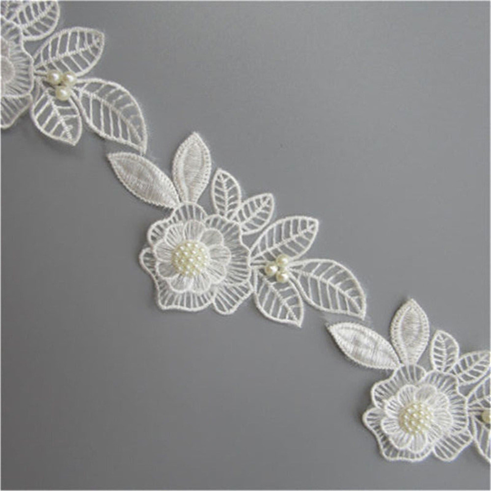 2 Meters White Flower Diamond Beads Lace Trim Ribbon Wedding Applique DIY Sewing