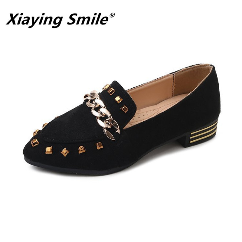 Xiaying Smile Women Pumps New Fashion Casual Shoes Spring Autumn Female Concise Mature Style Metal Decoration Pumps Shoes