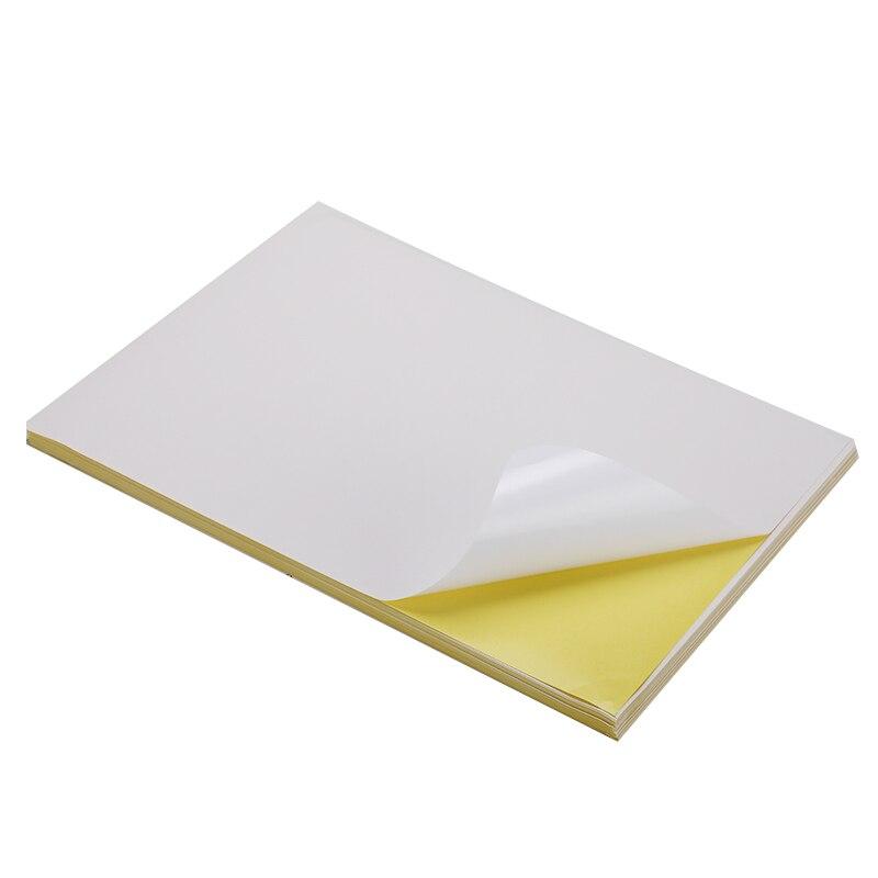 50/100 folhas/lote a4 lustroso & fosco impressora a jato de tinta a laser copiadora papel ofício branco etiqueta autoadesiva papel de superfície fosco