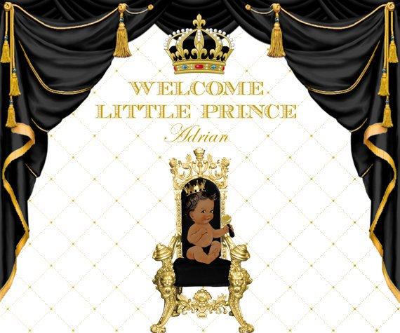 Custom Black And Gold Prince Crown 1st Birthday Baby