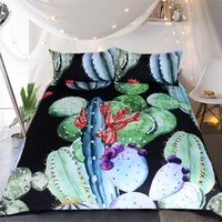 Free Shipping 3pcs Floral Cactus Succulents Pineapple 1 Duvet Cover 2 Pillow Cases Twin Full Queen