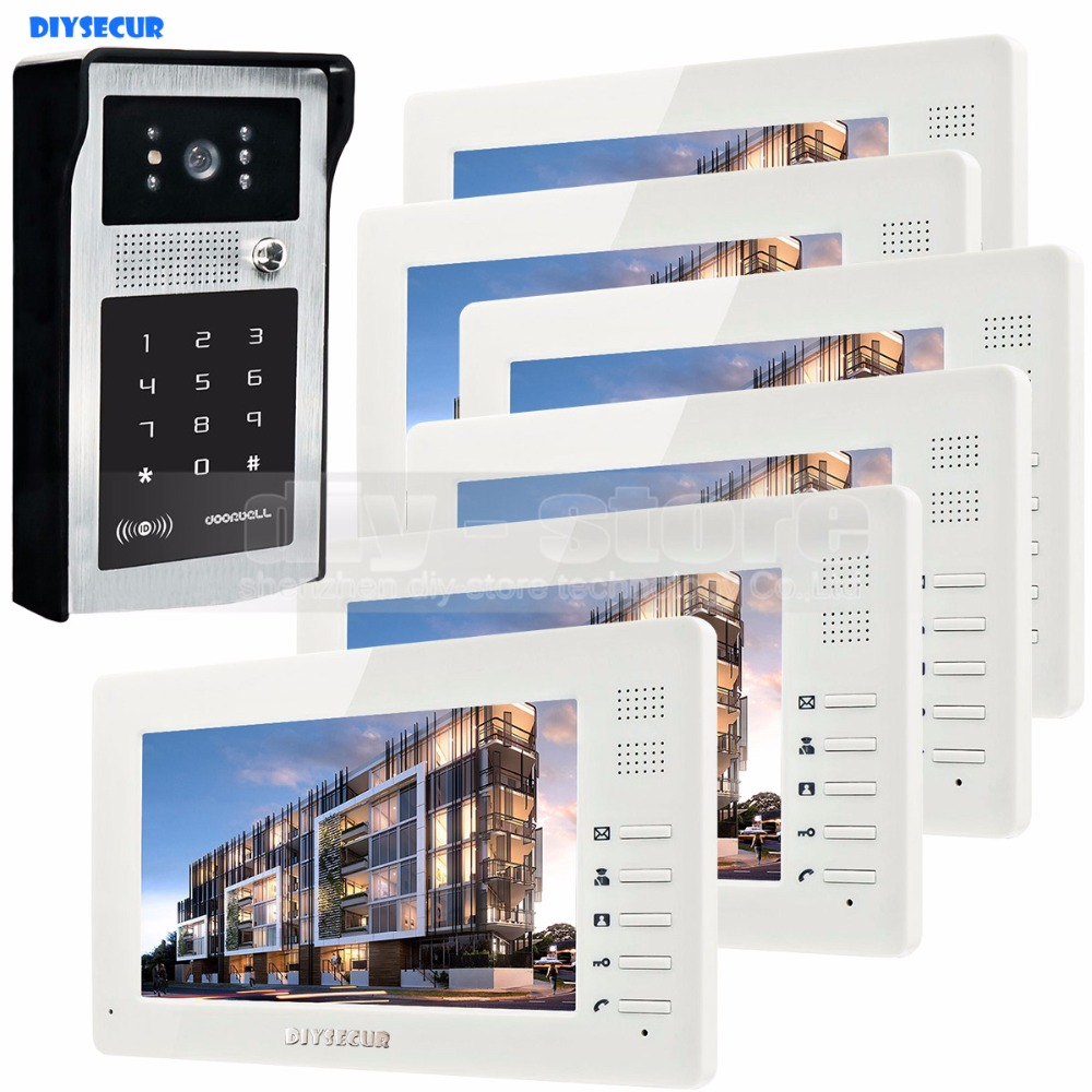 7 inch 1024 x 600 HD TFT LCD Screen Video Door Phone Video Intercom Doorbell Buildin RFID Reader + Password HD Camera 1 V 6 7 inch video doorbell tft lcd hd screen wired video doorphone for villa one monitor with one metal outdoor unit night vision