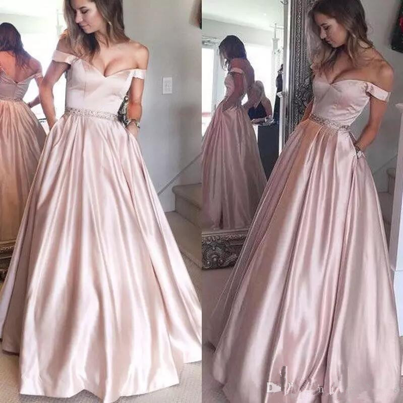 2019 Fashion Silver Prom Dresses With Pockets Off Shoulder Beaded Sash A Line Floor Length Formal Evening Wear Celebrity Party