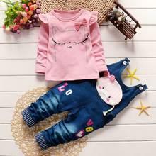 Automne filles nourrissons bébé enfants à manches longues t-shirt + de bande dessinée jeans en denim à bretelles Salopette Salopette pantalon 2 PCS vêtements ensembles S3773