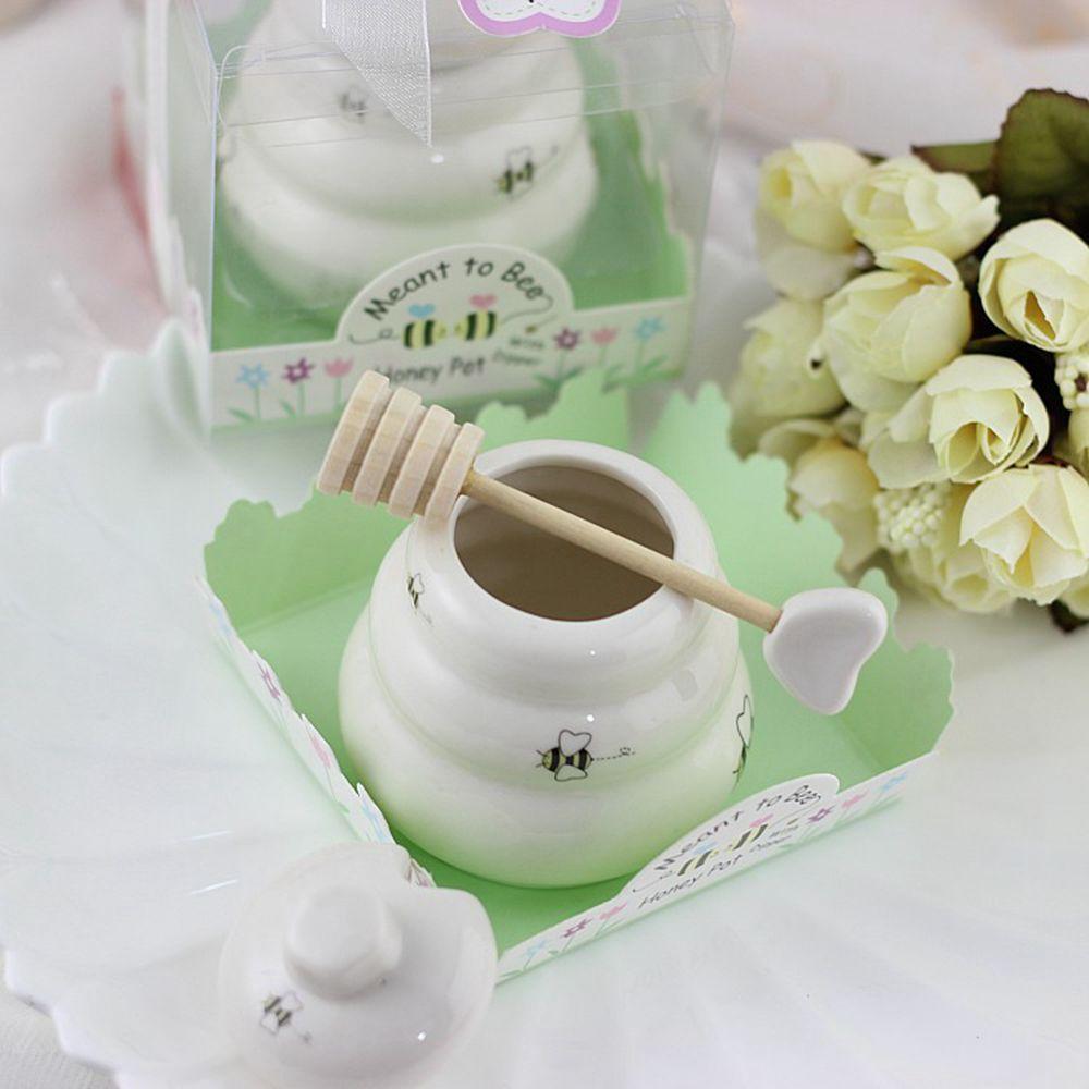 "Porcelain Wedding Favors: Free DHL/Fedex 200pcs ""Meant To Bee"" Ceramic Honey Pot"