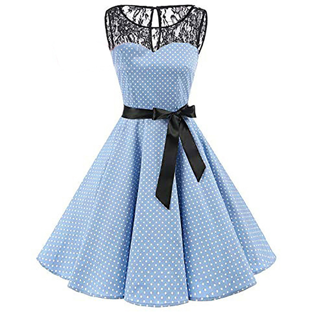 HTB1g 6PXznuK1RkSmFPq6AuzFXaO Sleeper #401 2018 Women Sleeveless Polka Dot Lace Hepburn Vintage Swing High-Waist Pleated Dress solid design hot Drop Shipping